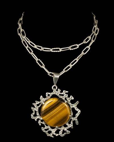Mexican silver tiger's eye brutalist Pendant Necklace