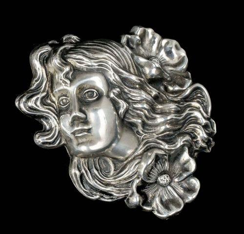 "2.75"" antique Art Nouveau silver Pin Brooch ~ flower maiden w/ poppies"