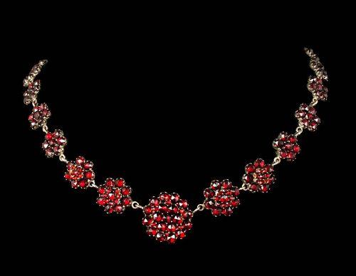 Victorian Bohemian garnet silver vermeil Necklace ~ floral clusters