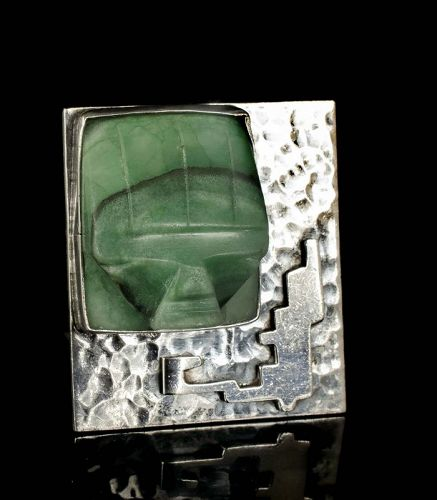 """Carmen Beckmann Mexican silver and carved stone """"mask"""" Pin Brooch"""