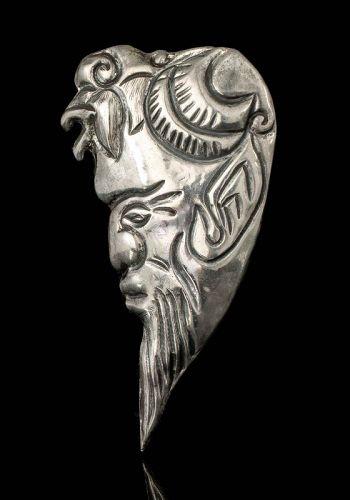 Mexican Deco Matl-esque silver repousse portrait Pin Brooch