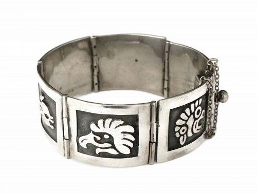 Gerardo Lopez Mexican silver Bracelet ~ Taxco figural overlay