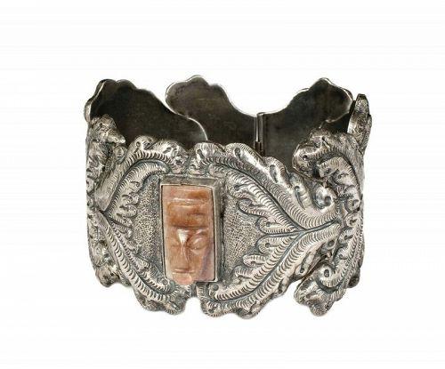 "P. Ochoa Mexican silver ""masquette"" Bracelet ~ Matl style repousse"