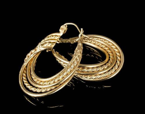 "1.25"" 14k yellow gold Creole hoop Earrings with twist rope detail"