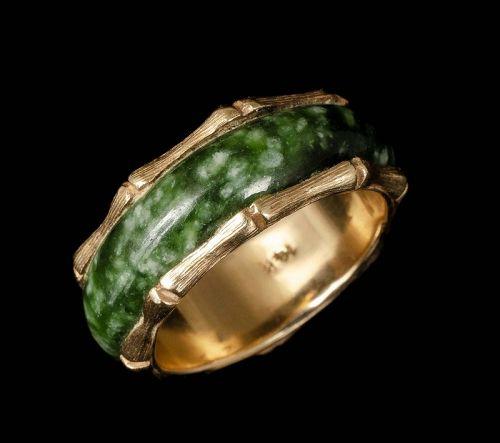 14k yellow gold and spinach jade bamboo band Ring