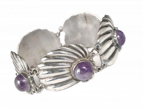 Davis style Mexican Deco silver and amethyst repousse shells Bracelet