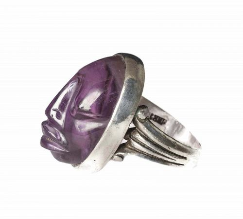 Felipe Martinez Piedra y Plata Mexican silver amethyst mask Ring