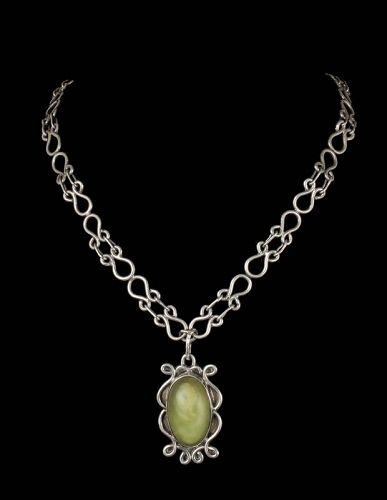 Mexican Deco silver and green stone Pendant Necklace