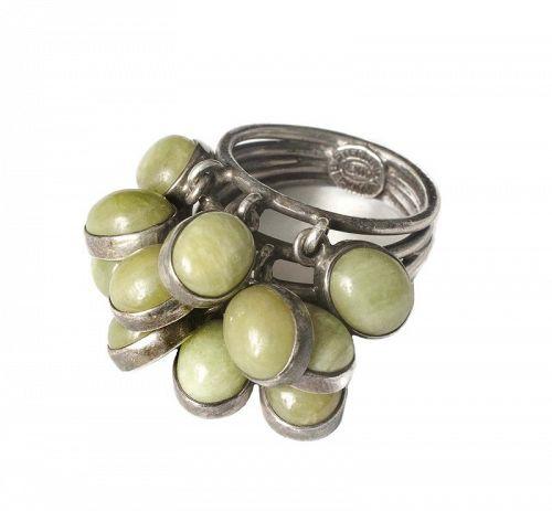 "Carmen Beckmann Mexican silver green stone ""cha cha"" Ring"