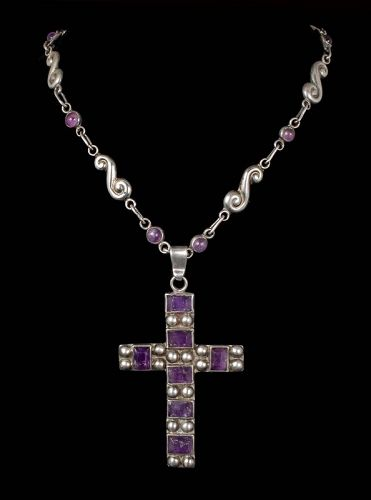 Mexican Deco silver amethyst cross Pendant Necklace ~ Matl style