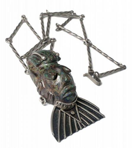 "huge Mexican silver azur-malachite ""mask"" Pendant Necklace"