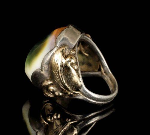 1940s silver 14k gold operculum Ring ~ La Paglia style foliate setting