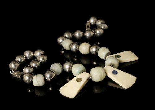 Reveriano Castillo Mexican silver bone and stone beads tribal Necklace