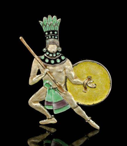 Margot de Taxco Mexican silver enamel Pin / Pendant ~ Aztec warrior