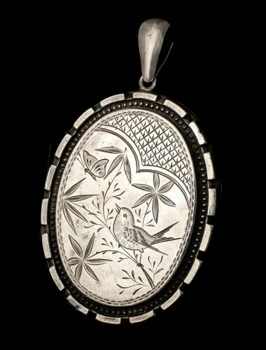 antique Victorian Aesthetic silver Locket Pendant ~ bird and butterfly