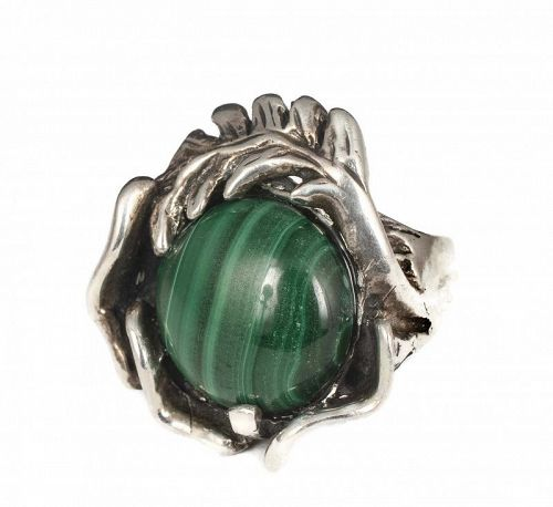 Mexican 950 silver malachite modernist / brutalist Ring