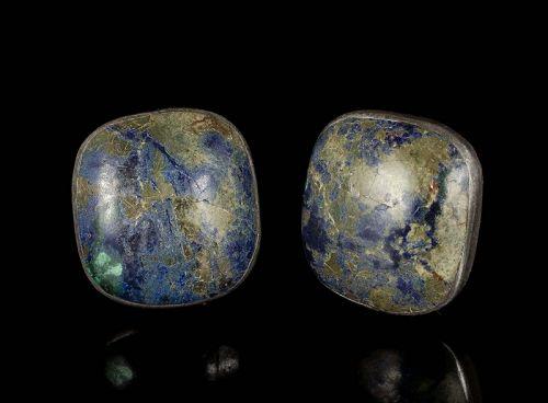 Felipe Martinez Piedra y Plata Mexican silver azur malachite Earrings