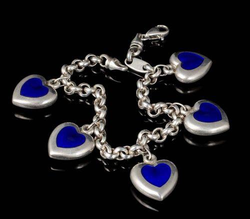Italian silver blue enamel puffy hearts Charm Bracelet