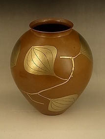 JAPAN MID 20TH C GYOKUSENDO HAND HAMMERED COPPER VASE