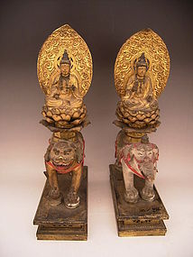 Japanese Edo Period Pr Wooden Monju and Fugen Bosatsu