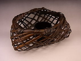 Japanese 20th C. bamboo flower basket by Chikuunsai II