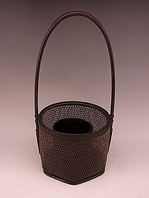Japan 20th C. Tanabe Chikuunsai II Bamboo Flower Basket