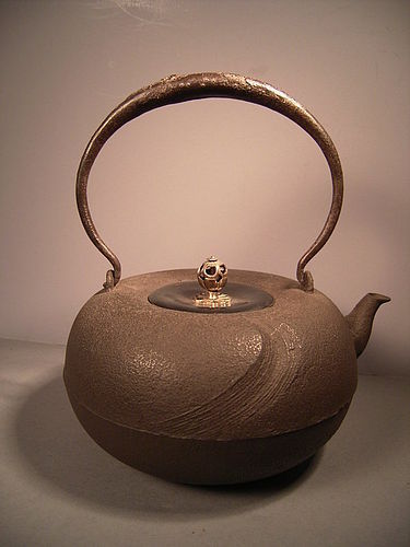 Japanese E. 20th C. Iron Tea Kettle with Persimmon Design