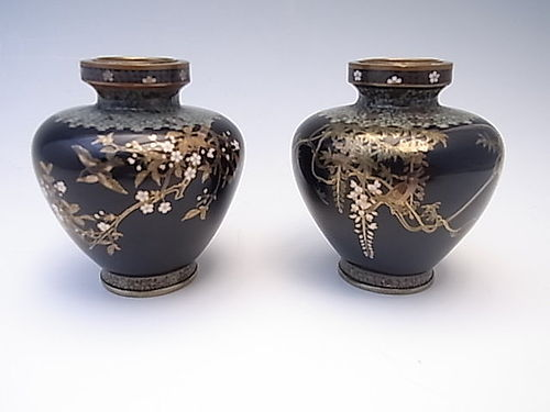 Japanese E. 20th C. Ota Hyozo Pair of Miniature Cloisonne Vases