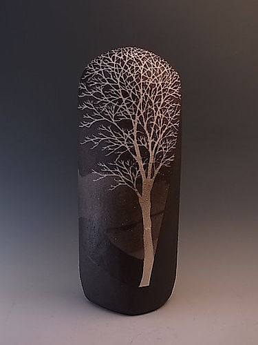 Japanese 1994 Ceramic Vase by Saeki Moriyoshi in Tree Design