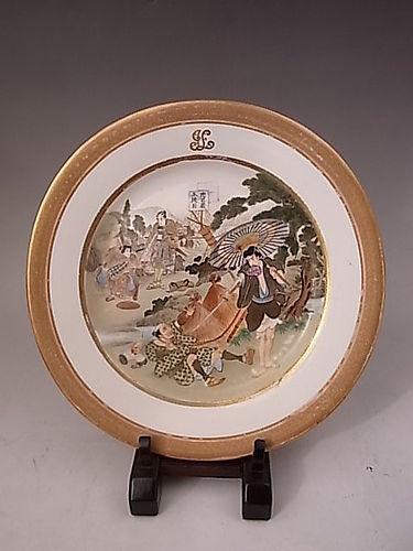Japanese Meiji Period Monogrammed KINKOZAN SATSUMA Plate