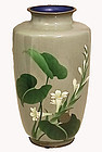 Japanese Early-Mid 20th C. Cloisonne Vase with Snail and Plant Design