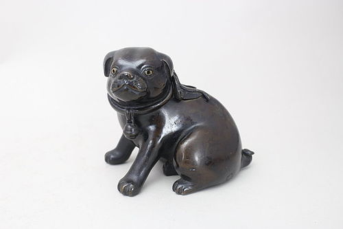 Japanese Edo Period AKAGANE Red Bronze Puppy Design Incense Burner