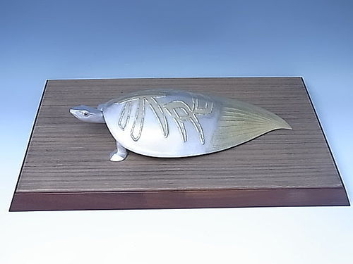 Japanese 1952 Pure Silver Turtle Okimono by UNNO TAKEO