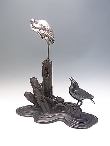 Japanese Meiji Period Bronze and Silver Koro/Okimono by Unno Yoshimori