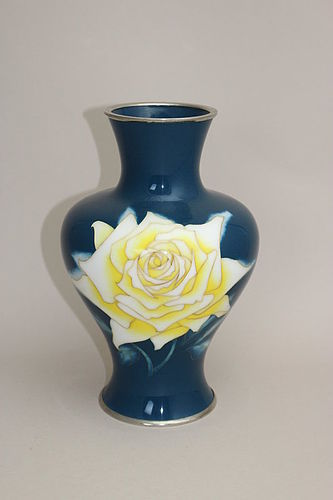 Japanese Early 20th C Cloisonne Vase by Tamura