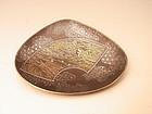 Japanese Meiji Period Iron Shell-Shaped Dish by Komai