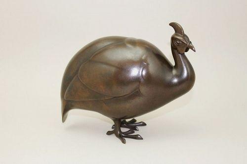 Japanese Mid 20th Century Bronze Guinea Fowl Okimono by Hori Joshin
