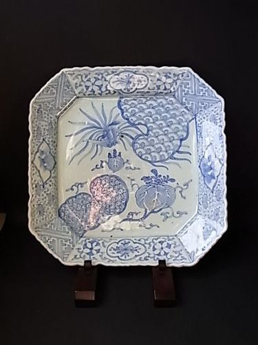 Japanese Early 20th C. Blue and White Octagonal Charger.