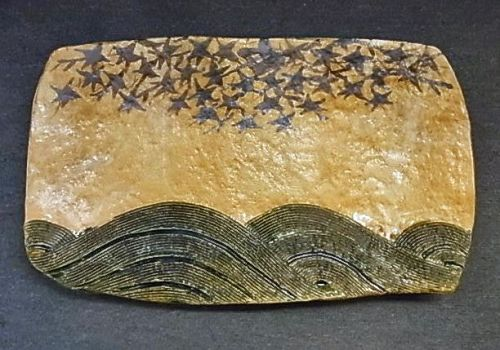 Japanese Contemporary Oribe Ware Tray by Sato Kazuji