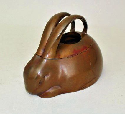 Japanese E. 20th C. Bronze Rabbit Incense Burner by Yamamoto Kozan