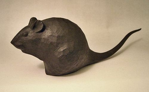 Japanese 20th C. Carved Wood Rat by Kato Tomohiko