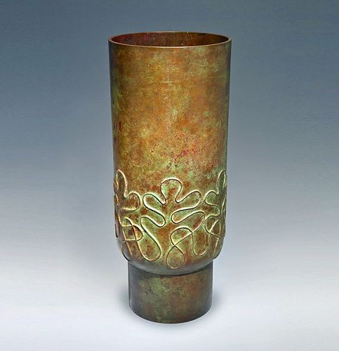 Japanese 20th C. Bronze Vase by Tsuda Joyo