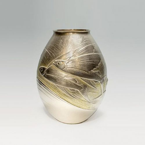 Japanese 20th C. Lg. Silver Flying Fish Design Vase by Tsuchiya Kyohei