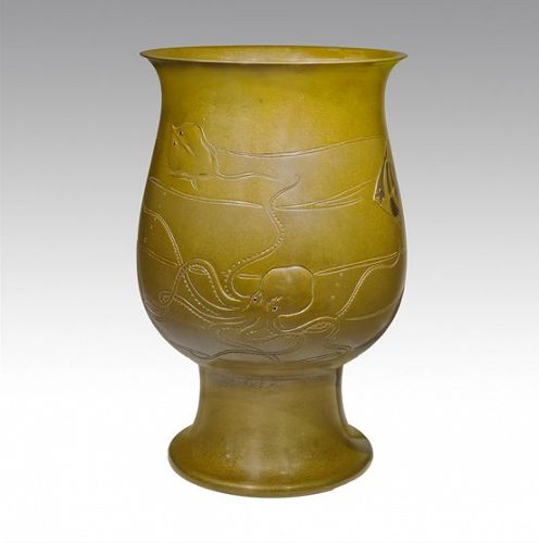 Japanese E.-Mid 20th C. Bronze Sea Life Design Vase by IPPOU