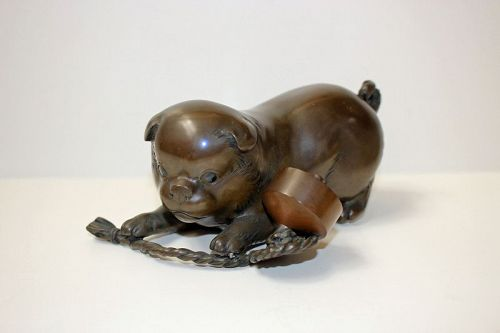 Japanese Early 20th Century Bronze Puppy Okimono