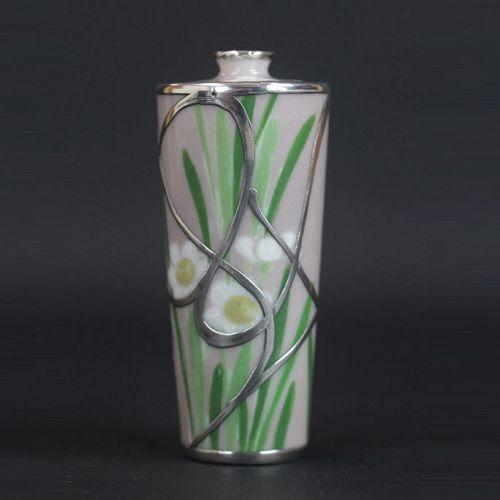 Japanese Early 20th C. Porcelain/Sterling Silver Nishiura Studio Vase
