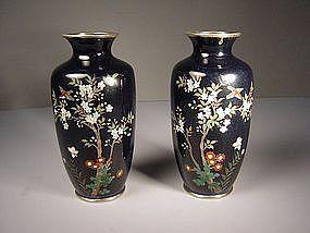 Japanese E. 20th C. Pair of Miniature Cloisonne Vases