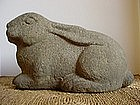 Japanese 20th C carved granite rabbit garden decoration