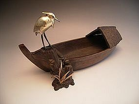Japanese E. 20th C. bronze boat and heron by Shusei
