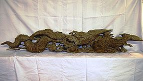 Japanese Taisho Period Carved Wooden Dragon Ranma